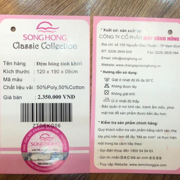 thẻ bài ghi giá đệm Sông Hồng nhái